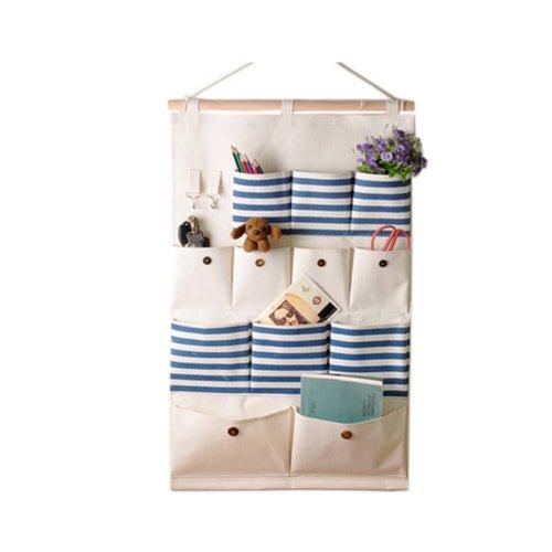 12-Pockets Zakka Wall Door Hanging Storage Bag Case Home Organizer, A