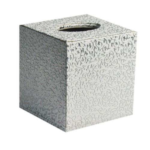 Square Cute Tissue Box Holder With Silver Carved Patterns (Silver)