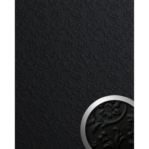 WallFace 13472 FLORAL Wall panel leather flower interior plate black | 2.60 sqm