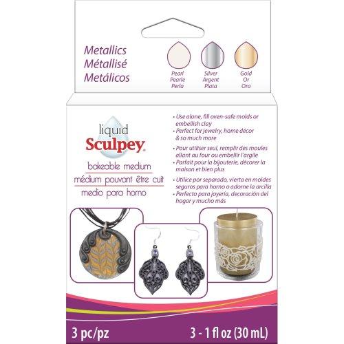 Sculpey Liquid Metallics 3/Pkg-Pearl, Silver, Gold