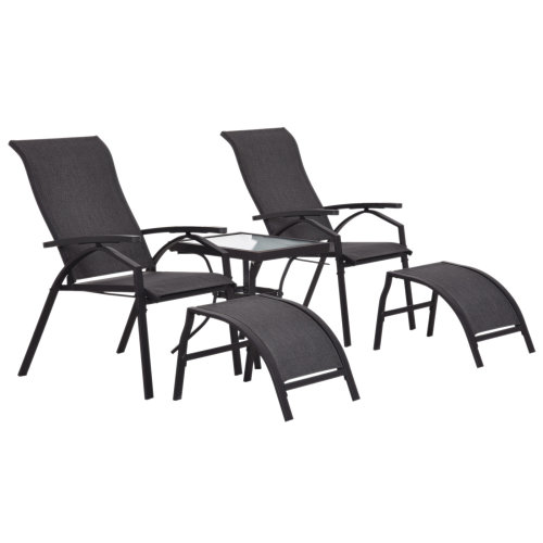 Outsunny 5 PCs Garden Patio Outdoor Sun Lounger Set 2 Chairs with Footrest and Coffee Table Adjustable Recliner Balcony Terrace Reclining Black