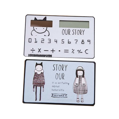Creative Mini Solar Card Calculator Child Count Toy/Office Supplies,B4