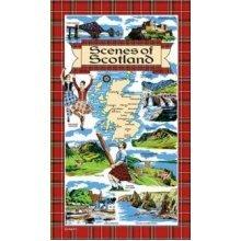 Scenes of Scotland Tea Towels Souvenir Gift Scottish Tartan Cotton Map Elgate