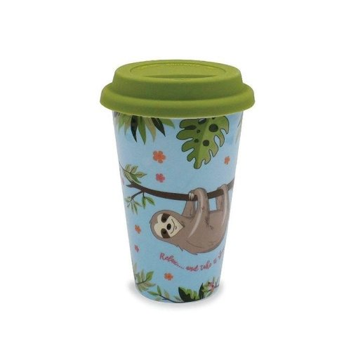 Sleepy Sloth Ceramic Travel Mug | Reusable Eco Coffee Cup