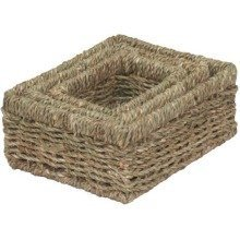 Set of 3 Rectangular Seagrass Small Trays