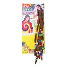 Brown Hippie Beaded Headband -  hippie fancy dress beaded headband hippy costume 60s 70s accessory HIPPY FANCY DRESS 1960S COSTUME BEADED HEADBAND