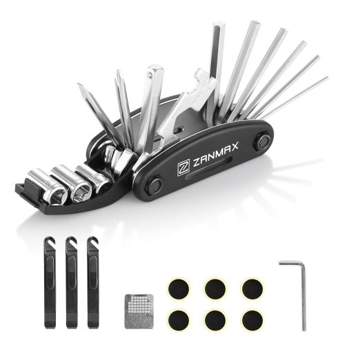 ZANMAX Bicycle Repair Tool Kit, 16 in 1 Multi-Function Cycling Bike Mechanic Tire Patch Hand Tools Folding Multitool with 3 pcs Tire Pry Bars Rods,...