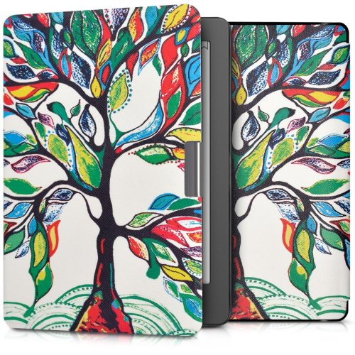 kwmobile Case for Kobo Aura Edition 2 - Book Style PU Leather Protective e-Reader Cover Folio Case - Multicolor Green White