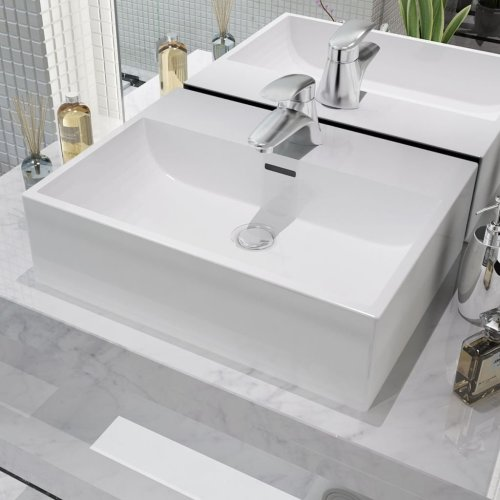 vidaXL Basin with Faucet Hole Ceramic White 51.5x38.5x15 cm