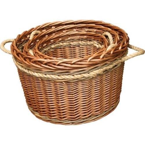 Set of 3 Buff Rope Handled Log Baskets