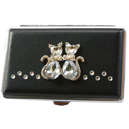Cat Lovers PU Leather Cigarette Case Rhinestones Cig Box for Women, Hold 14Pcs Regular Cigarettes