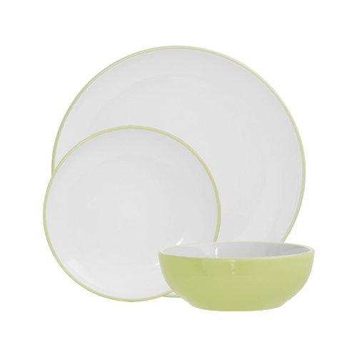 Sienna 12Pc Dinner Set, Green, Stoneware