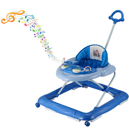 HOMCOM Baby Walker Folding Toddler First Steps Learnig Car Anti-Rollover Activity Music Ride On Adjustable 6-12 Months B