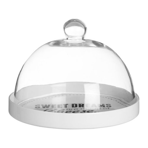 Pun & Games Cheese Board With Glass Dome, Stoneware, White