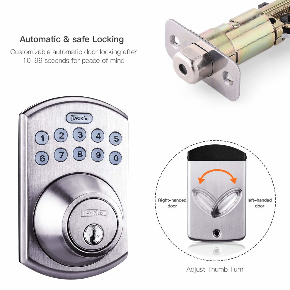 Electronic Lock, TACKLIFE EKPL1A 10-Digit Smartcode keypad Lock Electronic  Push Button Deadbolt Lock with Both Keys and Electronic Locking Mechanism