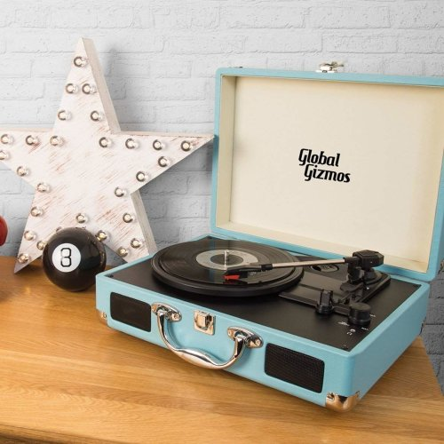 Global Gizmos Portable Bluetooth Retro Suitcase Turntable with Built In Speakers and MP3 Transfer - Blue