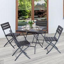 Outsunny 5 Pieces Furniture Set Bistro Foldable Table Chair Garden Patio HDPE Steel Brown
