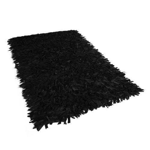 Leather Area Rug 140 x 200 cm Black MUT