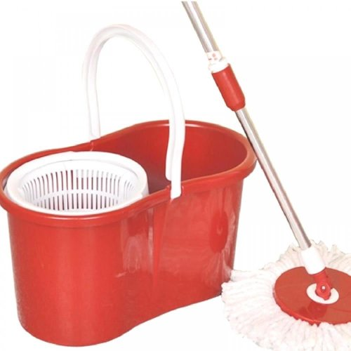 360° Floor Magic Spin Mop Bucket Set Microfiber Rotating Dry Heads With 3 Heads[Red]