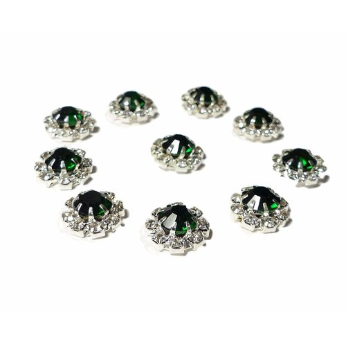 10 x Emerald Green Round Rhinestone Crystal Embellishment Large Center Stone