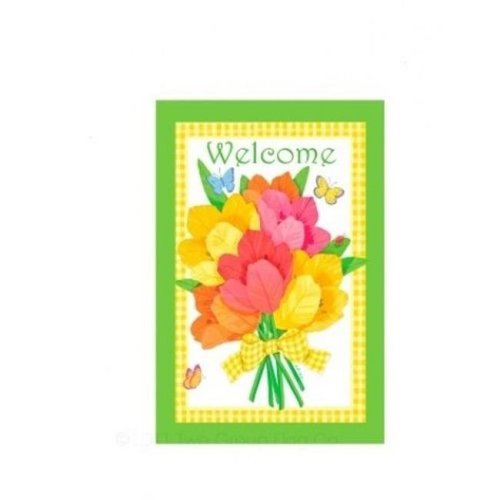 Breeze Decor 00053 Welcome Flower Bouquet 2-Sided Vertical Impression House Flag - 28 x 40 in.