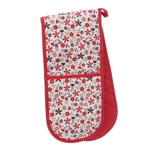 Red Daisy Double Oven Glove