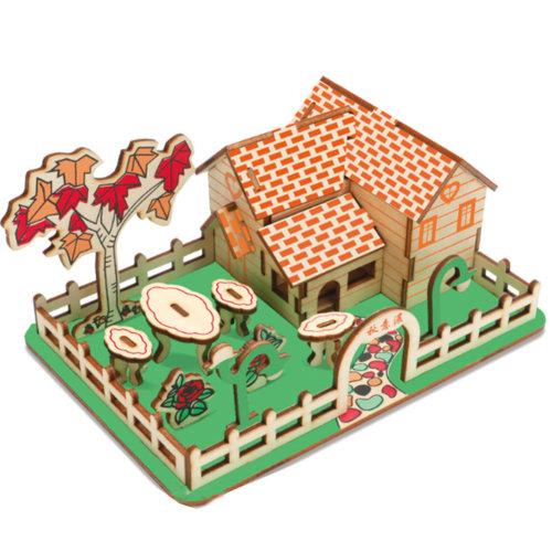 3D Wooden Puzzle Architecture Building Puzzle DIY Toys 2 Pcs #5