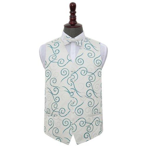 Silver & Teal Scroll Wedding Waistcoat & Bow Tie Set 42'