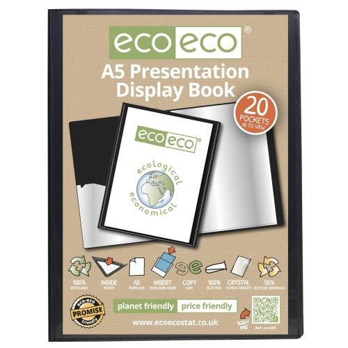 48 x A5 Recycled 20 Pocket(40 Views) Presentation Display Book - Black