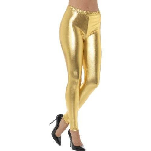 Large Metallic Gold Ladies 80's Disco Leggings -  ladies metallic leggings disco fancy dress costume 80s womens accessory gold