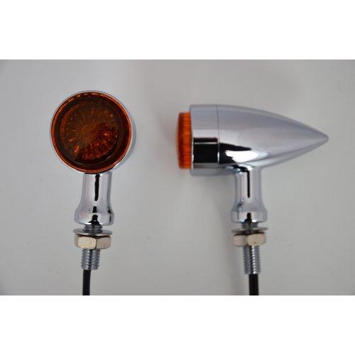 Motorcycle Motorbike Stylish Torpedo LED Indicators Turn Signals Chrome