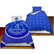 Everton Official Reversible Single Duvet Cover Set - Blue/white - Fc Football -  duvet everton single set fc football cover official bedding new
