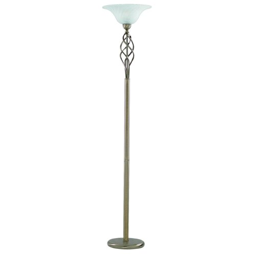 Antique Brass Floor Lamp With Marble Glass