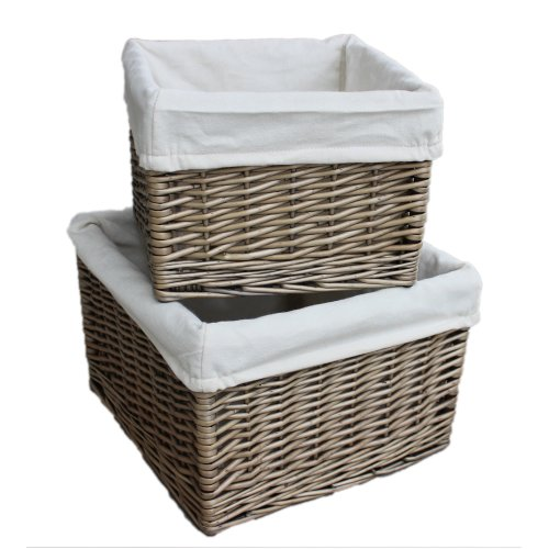 Set of 2 Square Antique Wash Wicker Lined Storage Basket