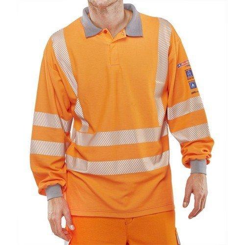 Click CARC51ORL ARC Compliant GO/RT Flame Retardant Hi Vis Orange Long Sleeve Polo Shirt Large