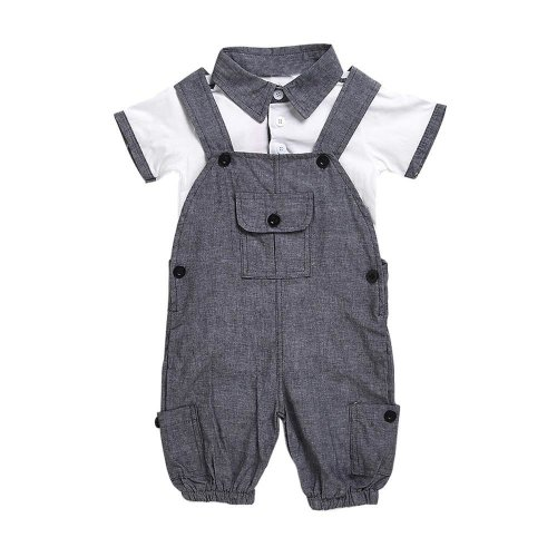 2017 summer Newborn boys clothing sets gentleman Turn-down Collar T-shirt and suspender pants Kids Outfits baby boy clothes