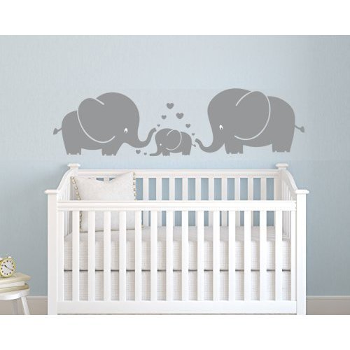 Three Cute Elephants Pas And Kid Family Wall Decal With Hearts Decals Baby Nursery Decor Kids Room Stickers Grey Small