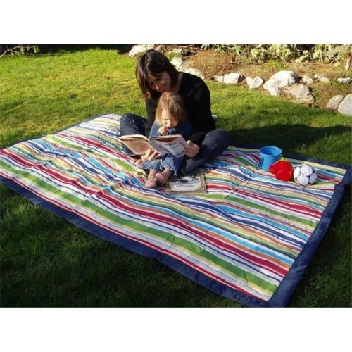 Tuffo LLC TA3-021 Water-Resistant Outdoor Blanket- Multi Color Stripe