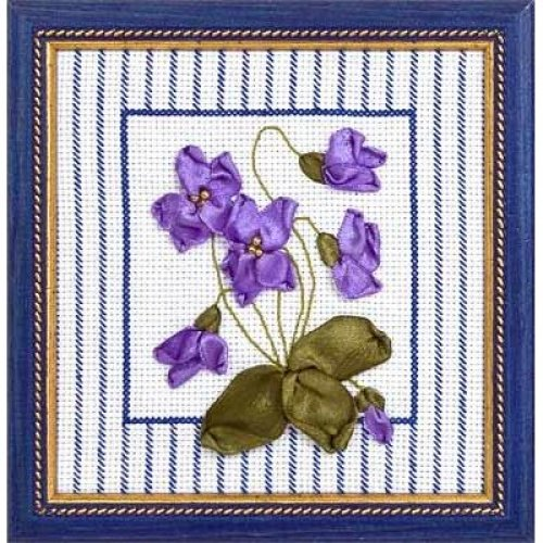 Ribbon Embroidery Kit by Panna  C 0434 Violets