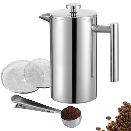 Meelio 350ML French Press,12oz/3 Cup, Double Wall 18/8 Stainless Steel Heat Resistant Tea or Cafetiere Kettle, Includes Coffee Measuring Spoon