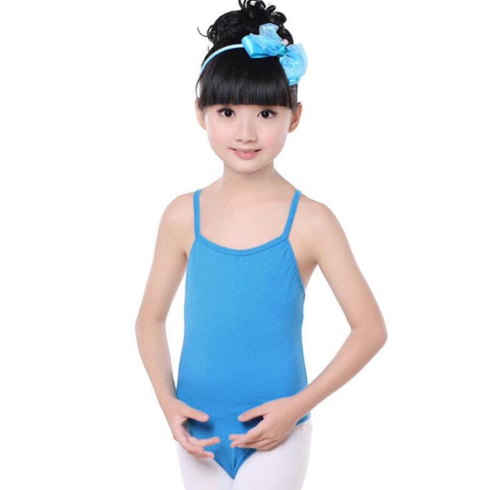e97f520adf51 100% Cotton Gymnastics Leotards for Girls Leotard Dance Costumes Sportswear  Blue ...