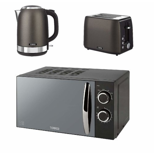 Tower Black Titanium 1.7L S/S Jug Kettle, a 2 Slice Toaster and a Black Solo Manual 800 W, 20 L Microwave