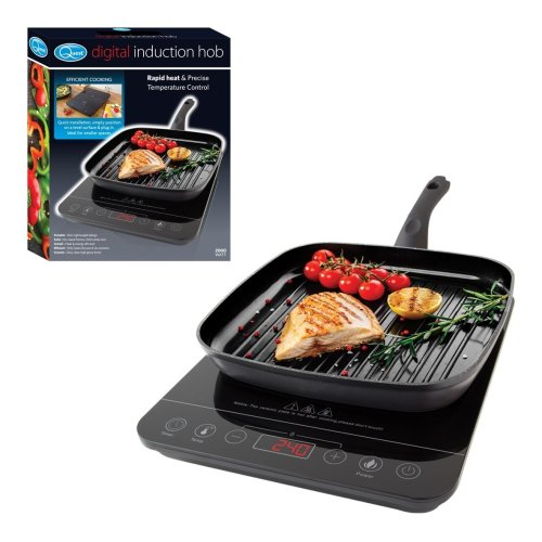 Quest Single Digital Induction Hob 2000 Watt Rapid Heat & Precise Temperature Control Black