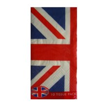 10 Union Jack Flag Paper Tissues Pocket United Kingdom GB Handkerchiefs Hankies