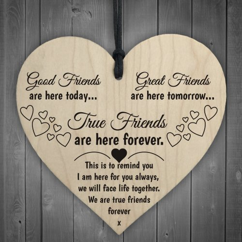 Red Ocean True Friends Are Here Forever Wooden Hanging Heart Love Friendship Gift Sign
