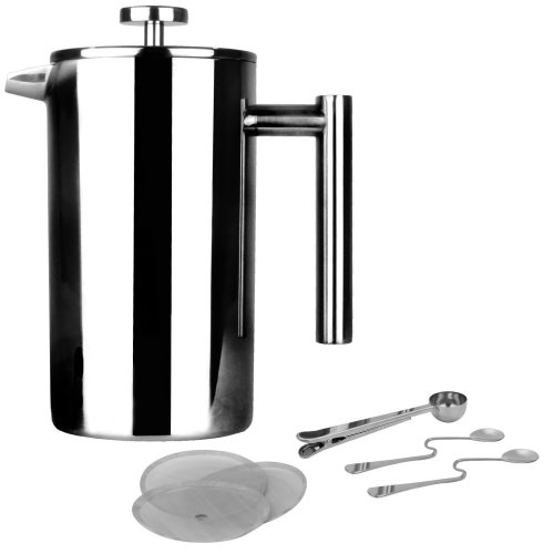 French Press Cafetiere | Stainless Steel Coffee Press Maker | FREE Extra Filters / Measuring spoons / Bag Clip | Double Walled Insulation | 7pc...