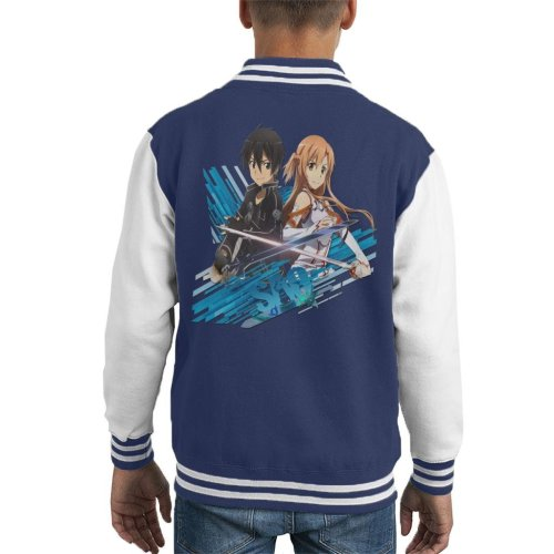 Sword Art Online Kirito And Asuna Blue Streaks Kid's Varsity Jacket