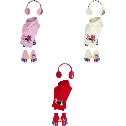 Disney Minnie Mouse Childrens Girls 2 Cute Winter Earwarmers, Scarf And Gloves Set