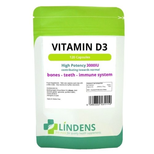 Lindens High Strength 3000iu Vitamin D3 120 Capsules D D-3 Sun Sunshine