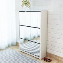 vidaXL Shoe Cabinet 3-Layer Mirror White 63x17x102.5 cm